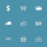 Uppsättning för symbol för shoppingteckenvektor Arkivbild