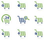 Uppsättning för symbol för shoppingvagn Fotografering för Bildbyråer