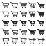 Uppsättning för symbol för shoppingvagn Royaltyfri Foto