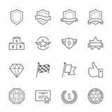 Uppsättning för symbol för slaglängd för översikt för troféutmärkelsevektor vektor illustrationer