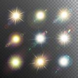 Uppsättning för symbol för solskendesignbeståndsdelar Arkivbilder