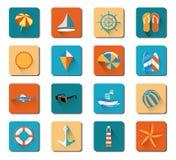 Uppsättning för symbol för sommarstrandsemester Arkivfoto