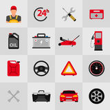 Uppsättning för symbol för tjänste- lägenhet för bil Symboler för tjänste- lägenhet för auto mekaniker av underhållsbilreparation Arkivbilder