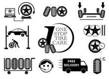Uppsättning för symbol för underhåll för gummihjulbilservice Arkivfoton