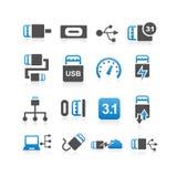 Uppsättning för symbol för USB typ C stock illustrationer