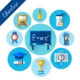 Uppsättning för symbol för utbildningssamling färgrik royaltyfri illustrationer