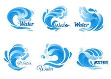 Uppsättning för symbol för våg för blått vatten för flotta, naturdesign royaltyfri illustrationer