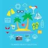 Uppsättning för symbol för vektor för lägenhet för sommarsemester royaltyfri illustrationer