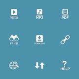 Uppsättning för symbol för vektor för multimediarengöringsdukinternet Arkivbilder