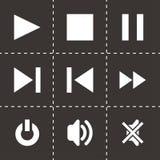 Uppsättning för symbol för vektormassmediaspelare Arkivfoto