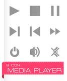 Uppsättning för symbol för vektormassmediaspelare Arkivbilder