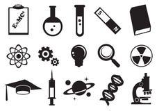 Uppsättning för symbol för vetenskapsutbildningsvektor stock illustrationer