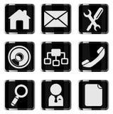 Uppsättning för symbol för webbplatsvektor glansig Arkivbilder