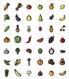Uppsättning för symbol för frukt och för plan designvektor för grönsaker färgrik Samling av isolerade frukt- och veggiessymboler vektor illustrationer