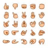 Uppsättning för symbol för gester för vektortecknad filmhänder vektor illustrationer