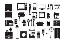 Uppsättning för symbol för hushållutrustning i plan stil Royaltyfri Fotografi