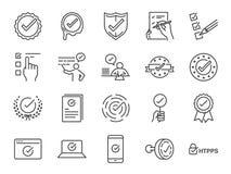 Uppsättning för symbol för kontrollfläck Inklusive bekräftar symbolerna som korrekta, verifierat, certifikatet, godkännande som a Royaltyfria Foton