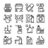 uppsättning för symbol för Lokalvård-hygien översiktsvektor vektor illustrationer