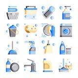 uppsättning för symbol för Lokalvård-hygien plan designvektor stock illustrationer