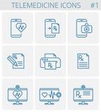 Uppsättning för symbol för medicin- och telemedicinevektoröversikt royaltyfri illustrationer
