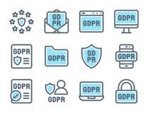 Uppsättning för symbol för reglering för skydd för GDPR-general data, färg för signal två vektor illustrationer
