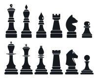 Uppsättning för symbol för schacklek, enkel stil stock illustrationer