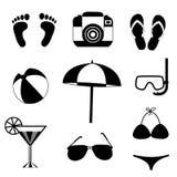 Uppsättning för symbol för sommarloppstrand som isoleras på vit bakgrund stock illustrationer