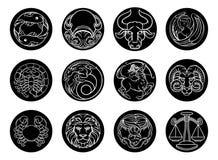 Uppsättning för symbol för tecken för stjärna för astrologihoroskopzodiak Royaltyfri Bild