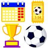 Uppsättning för symbol för tecknad film för fotbollmästerskap väntande royaltyfri illustrationer
