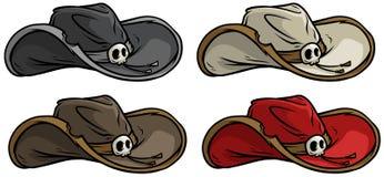 Uppsättning för symbol för vektor för hatt för rerto för tecknad filmcowboy gammal vektor illustrationer