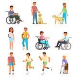 Uppsättning för symbol för vektor för rörelsehindrat folk lägenhet isolerad vektor illustrationer