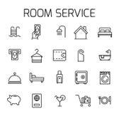 Uppsättning för symbol för vektor för rumservice släkt royaltyfri illustrationer