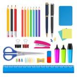 Uppsättning för symbol för vektorskola- och kontorstillförsel royaltyfri illustrationer