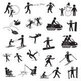 Uppsättning för symbol för vinteraktivitetsfolk vektor stock illustrationer