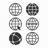 Uppsättning för symbol för world wide webbegreppsjordklot Uppsättning för planetrengöringsduksymbol Denna är mappen av formatet E vektor illustrationer