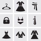 uppsättning för 9 symboler av modebeståndsdelar Arkivfoto