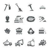 Uppsättning för symboler för coalminingutrustningsvart Royaltyfri Fotografi