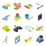 Uppsättning för symboler 3d för leksaker isometrisk vektor illustrationer