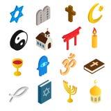 Uppsättning för symboler 3d för religion isometrisk Arkivbild