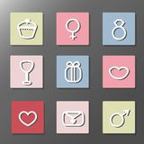 Uppsättning för symboler för dag för St-valentin s Enkla symboler med skuggor Royaltyfri Fotografi
