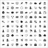 Uppsättning för symboler för affär 100 universell för rengöringsduk och mobillägenhet Royaltyfria Bilder