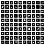 uppsättning för 100 symboler för appellmitt, grungestil royaltyfri illustrationer