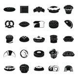 Uppsättning för symboler för bageriprodukter svart Arkivbilder