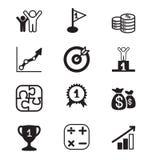 Uppsättning för symboler för begrepp för affärsmål Arkivbilder