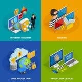 Uppsättning för symboler för begrepp för dataskydd royaltyfri illustrationer