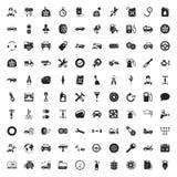 Uppsättning för symboler för bilreparation 100 för rengöringsduk Arkivfoto