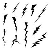Uppsättning för symboler för blixtbultar royaltyfri foto
