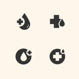 Uppsättning för symboler för bloddonation Arkivfoto