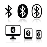 Uppsättning för symboler för Bluetooth anslutningsvektor stock illustrationer