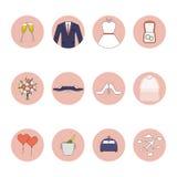 Uppsättning för symboler för bröllopvektorlägenhet 10 eps Arkivfoton